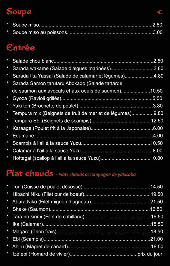 carte et menu